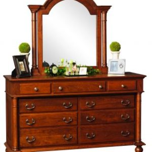 Corinthian Columns Double Dresser with Arched Mirror