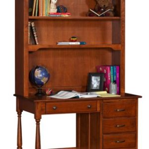 Traditional Student Desk, Side Panels Flat, with Bookcase Hutch Top
