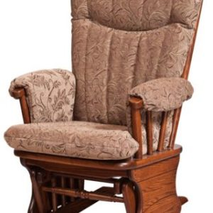 Arched Back Glider Rocker with Upholstered Cushion