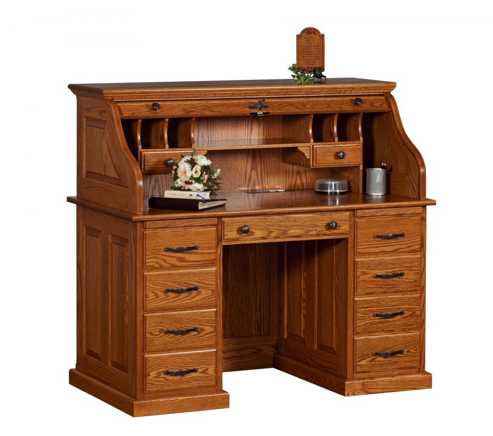 The Deluxe Roll Top Desk is solid oak and in 2 finishes  Roll Top Desk