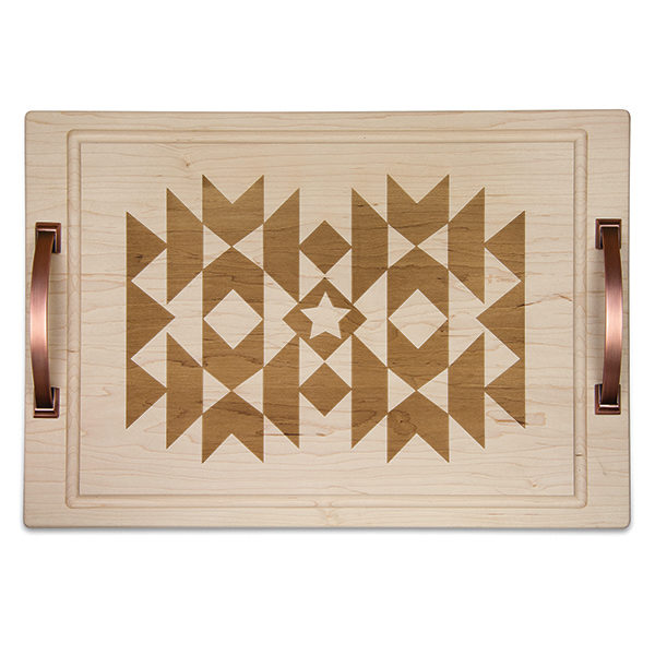 "Go West Saddle Blanket 14"" x 20"" Carve & Serve Tray w/Handles"