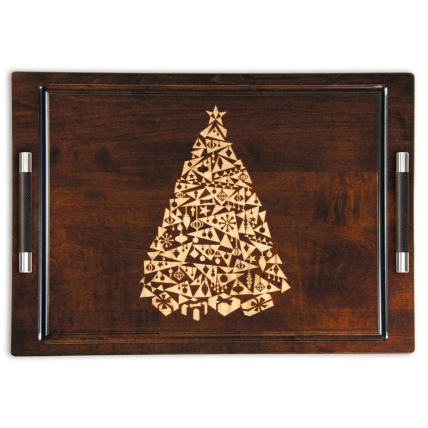 "Artisan Woods Modern Christmas Tree 14"" x 20"" Serving Tray w/Handles"
