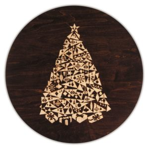 "MODERN Christmas Tree 12"" & 16"" Tobacco Brown Lazy Susan"