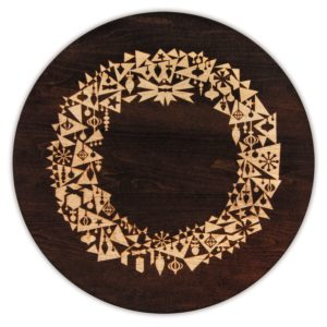 "MODERN Christmas Wreath 12"" & 16"" Tobacco Brown Lazy Susan"