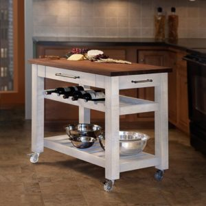 Metro Mobile Kitchen Island - White w/ Walnut Top