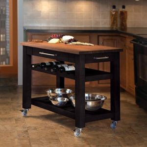 Metro Mobile Kitchen Island - Black w/ Walnut Top