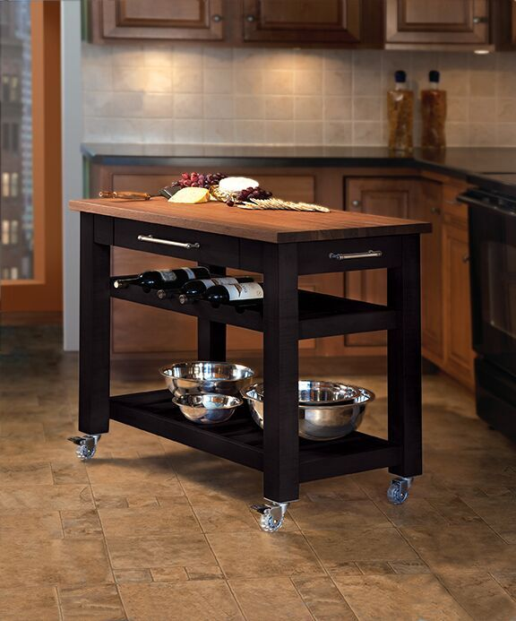 Metro Mobile Kitchen Island Black W Walnut Top