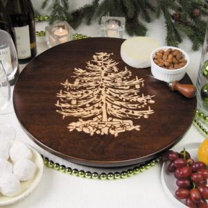 "Vintage Christmas Tree 12"" & 16"" Tobacco Brown Lazy Susan"