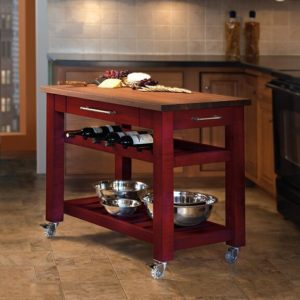 Metro Mobile Kitchen Island - Red Stain w/ Walnut Top
