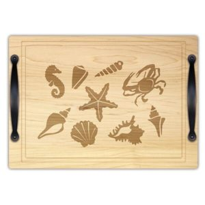 "Coastal Reef 14"" x 20"" Carving & Serving Tray w/ Handles"