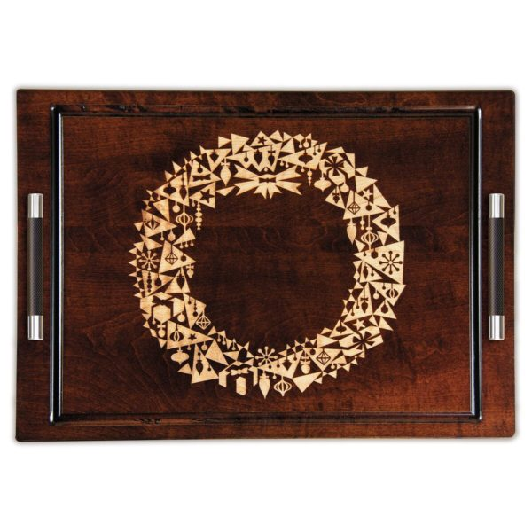 "Artisan Woods Modern Christmas Wreath 14"" x 20"" Serving Tray w/Handles"