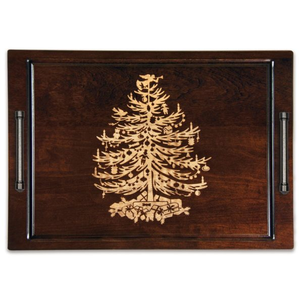 "Artisan Woods Vintage Christmas Tree 14"" x 20"" Serving Tray w/ Handles"