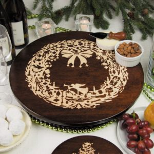 "Vintage Christmas Wreath 12"" & 16"" Tobacco Brown Lazy Susan"