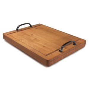 "Cherry 14"" x 18"" Large Grill Board Serving Tray w/Handles"