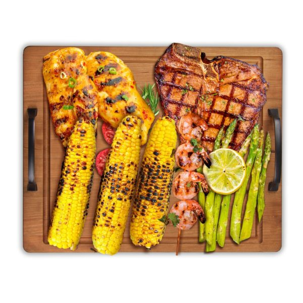 """Cherry 14"""" x 18"""" Large Grill Board Serving Tray w/Handles"""