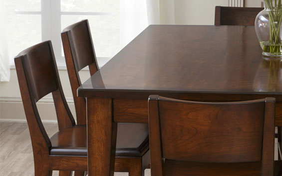 dining room table with stain finish