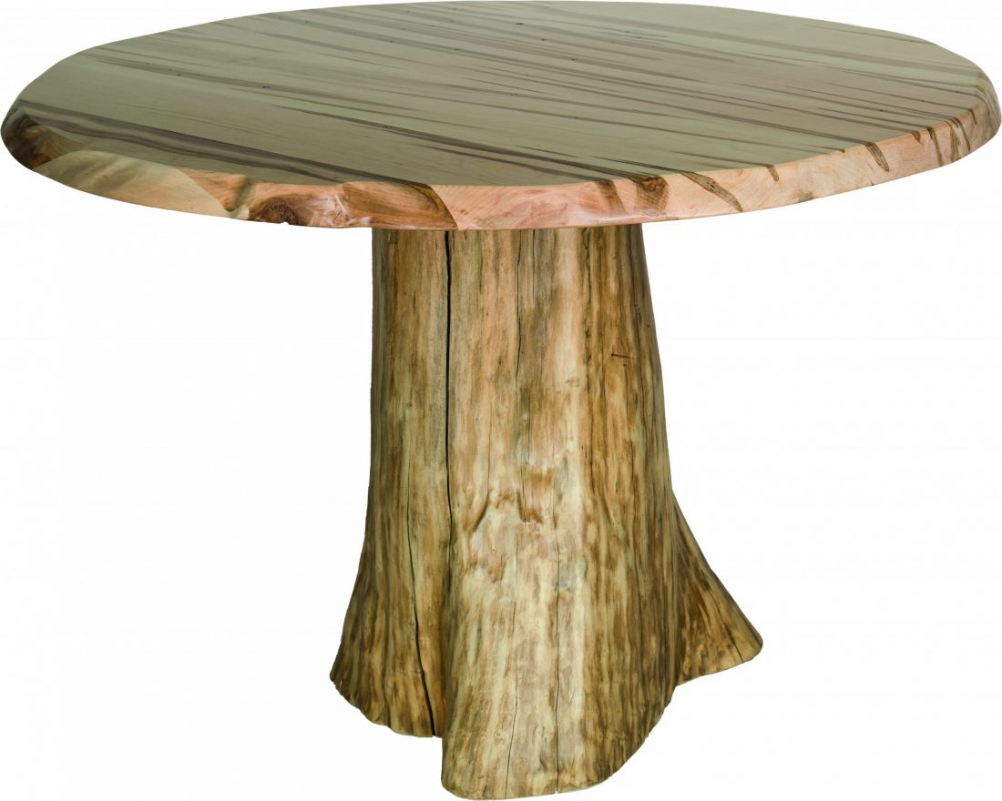 Faux Live Edge Round Dining Table With Pine Stump Base